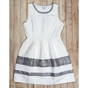 Jun & Ivy fit and flare dress in white and silver